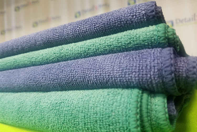Purple And Green Microfiber Towels